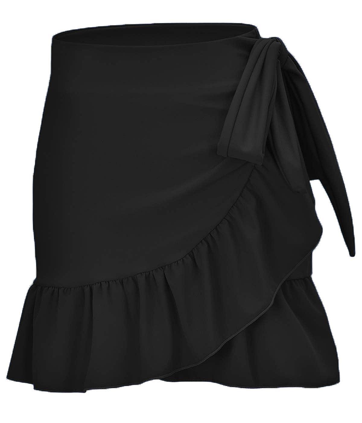 9f0fb510a4 ChinFun Women's Ruffle Sarongs Beach Wrap Swimwear Bikini Tankini Cover Up  Swim Skirts Swimdress at Amazon Women's Clothing store: