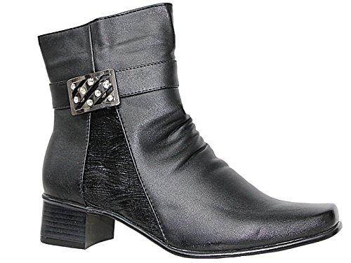 Cushion Walk Womens Side Zip Fashion Boots - Black - Denise Black/ Diamante N7T88