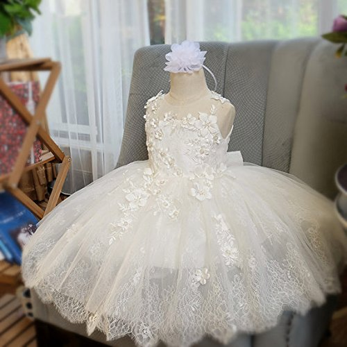 Amazon.com: Off White Lace and Tulle Flower Girl Dress, Christening First Communion Baptism: Clothing