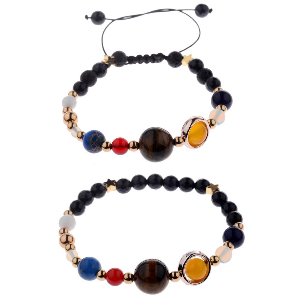 Unisex Prayer Healing Round Natural Lava Turquoise Stone 8mm Beads Stretch Bracelet with Charms (2 PCs Planets Solar System Set)