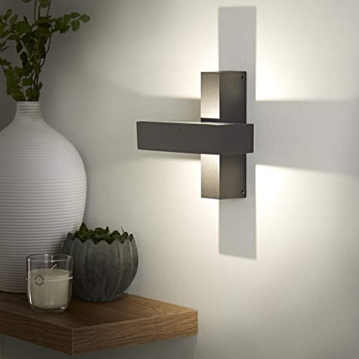 Black//Anthracite Square IP65 LED Up//Down Indoor Outdoor Adjustable Wall Light