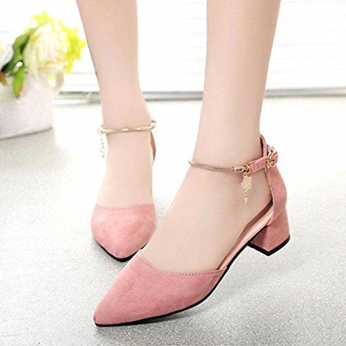 LANDFOX Zapatos de tacón alto Zapatos de boda Zapatos de sandalias de verano Zapatos de plataforma de cuña Rosado