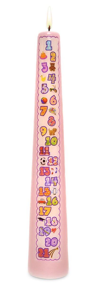 Celebration Candles 1-21 Year Contemporary Countdown Birthday Candle, Pink
