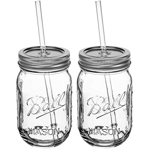 Ball RNWG-SIP-16OZ-2PK Sipper Set a 16oz Mason Jar + Sippin' Lid + Acrylic Straw Reusable Novelty Cocktail Glasses Shabby Chic, 2 Pack Clear -