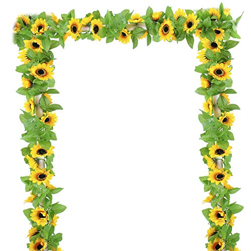 OUTLEE 4 Pack Artificial Sunflower Garland Faux Silk Sunflower Vines with 12 Flower Heads 8 ft Long for Home Garden Wedding Party Decor from OUTLEE