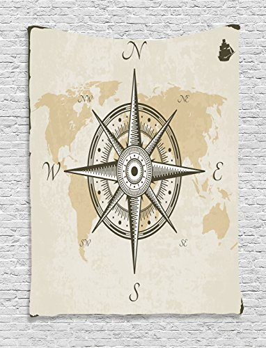 Ambesonne Compass Decor Collection, Nautical Compass on Background of Old Map with Torn Border Frame Illustration Print, Bedroom Living Room Dorm Wall Hanging Tapestry, Beige Brown