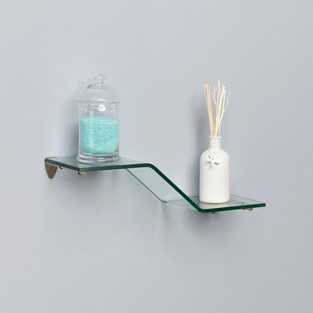 Shelf-Made KT-0134-618ZSN Wave Glass Shelf Kit, Satin Nickel, 6-Inch by 18-Inch