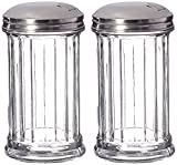 DuraWare Retro Style Sugar Dispenser/Pourer/Shaker, Glass Jar, Stainless Steel Pour-Flap Lid, 12 oz, Set of 2