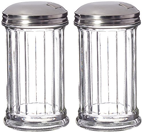 DuraWare Retro Style Sugar Dispenser/Pourer/Shaker, Glass Jar, Stainless Steel Pour-Flap Lid, 12 oz, Set of 2 by DuraWare