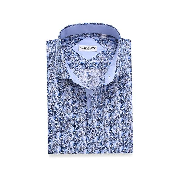 Alex Vando Mens Dress Shirts Casual Regular Fit Short Sleeve Shirts 14
