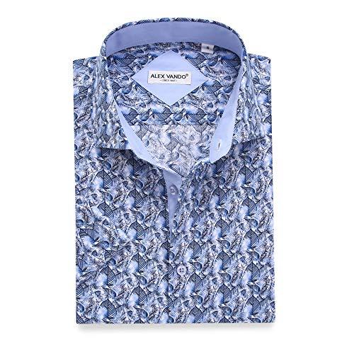 (Alex Vando Mens Dress Shirts Casual Regular Fit Short Sleeve Printed Men Shirt(Blue1933,M))