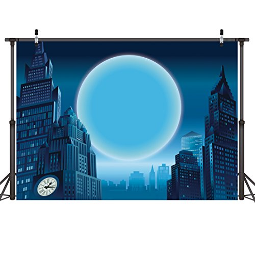 Moonlight Photo (LYWYGG 7x5ft Full Moon Night Vinyl Photography Backdrop A City in The Moonlight Background Studio Prop Moon-City Background of Urban Photography CP-28)