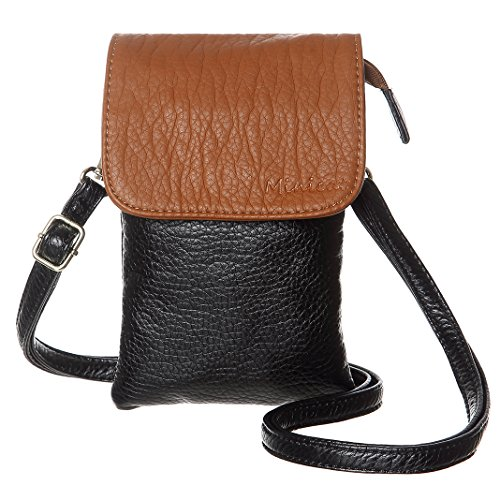 MINICAT Roomy Pockets Series Small Crossbody Bags Cell Phone Purse Wallet For Women(Brown-Black) ()