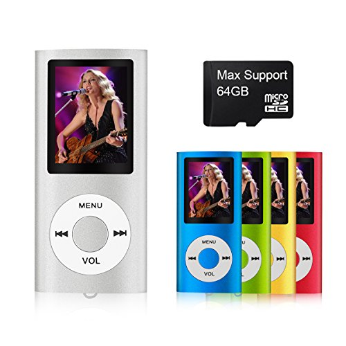 Mymahdi Digital Compact and Portable MP3 / MP4 Player supports 64 GB Micro SD Card with Photo Viewer, E-Book Reader and Voice Recorder and FM Radio Video Movie Silver