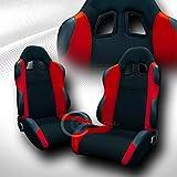 240sx bucket seats - Autobotusa Universal JDM-TS BLK/RED Cloth CAR Racing Bucket Seats+Sliders Pair JAP Vehicle