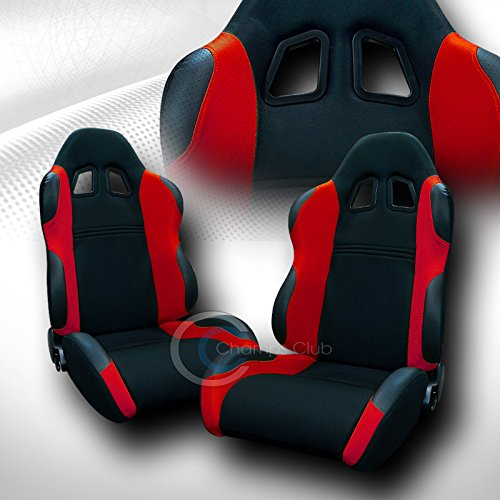 Autobotusa Universal JDM-TS BLK/RED Cloth CAR Racing Bucket Seats+Sliders Pair JAP - Nissan Coupe 240sx 1994