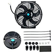 8milelake 12V 80W High Performance Black Slim Electric Cooling Radiator Fan with Fan Mounting Kit (10 inch)