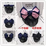 Fine mesh flower head nurse occupational Bank hotel waiter work flaxen hair net bag distribution s Korean bow hair accessories for women girl lady