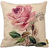 Pink Vintage Rose Throw Pillow Case Personalized Home Decor Cushion Cover Pillowcase 18x18 Twin Sides by Piillow