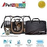 """PET4FUN PN935/PN945 Portátil Mascota Cachorro Perro Gato Jaula Jaula con Resistente al Agua 600D Oxford, Bolsa de transporte, cubierta de malla extraíble disponible en 3 colores y 3 tamaños, Marrón, Upgrade Version: 29"""" x 29"""" x 17"""" Medium"""