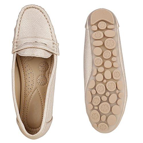Stiefelparadies Bequeme Damen Mokassins Metallic Slipper Velours Leder-Optik Flats Profilsohle Fransen Knöpfe Flandell Gold