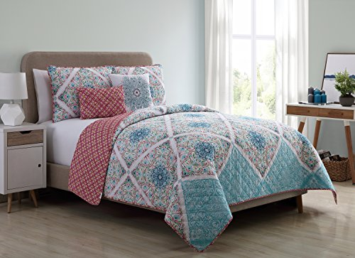 Review Of VCNY Home Windsor 5 Piece Reversible Quilt Cover Set, Queen, Multicolor, Multi