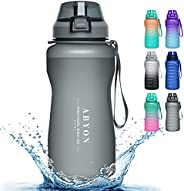 ABYON Large Water Bottle Motivational with Time Marker & Straw - Leak & Dust-Proof, Thick Bottom - Non