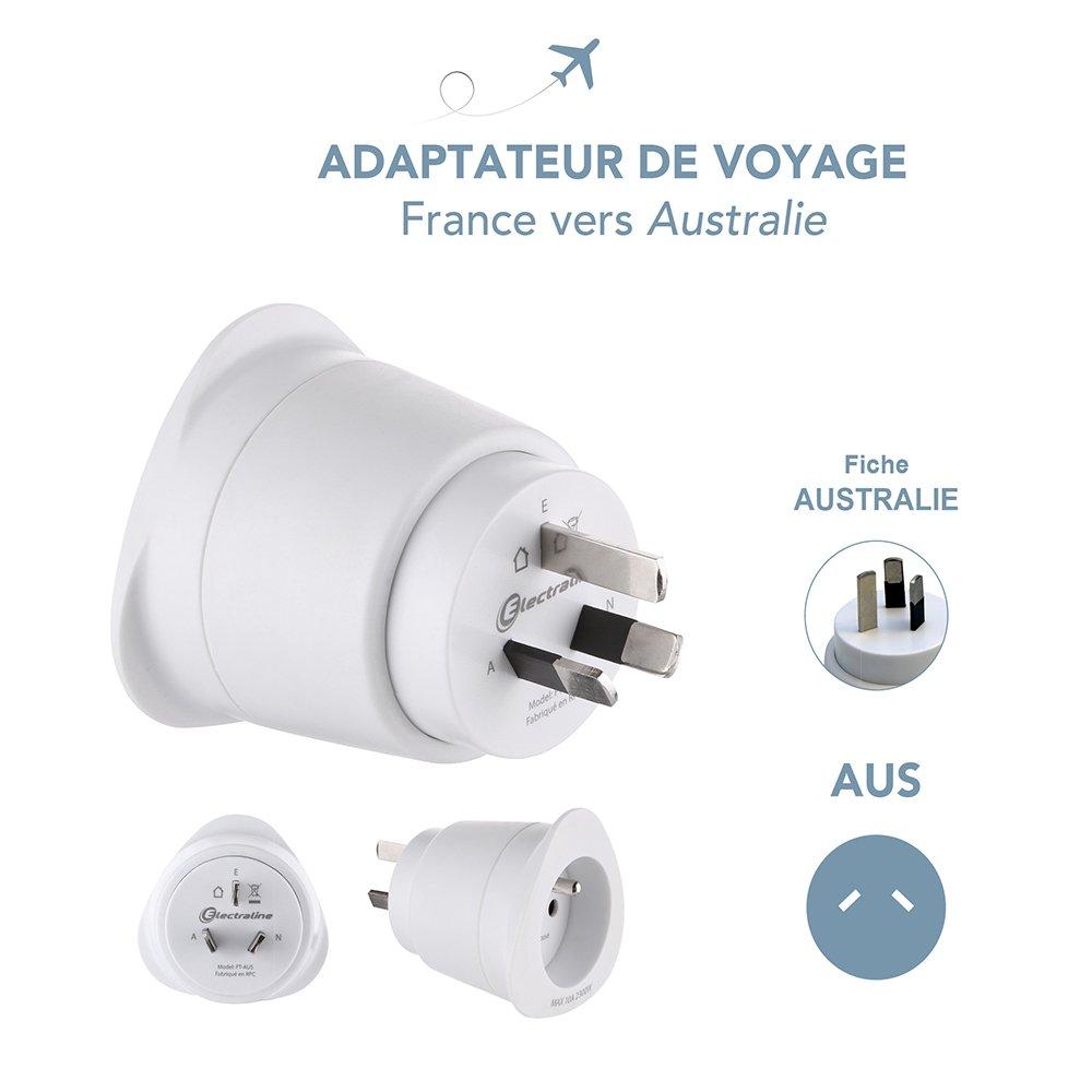 White Electraline 70050 Adaptateur de voyage France//Europe vers australie//chine 2 Broches Europe vers 3 Broches australie