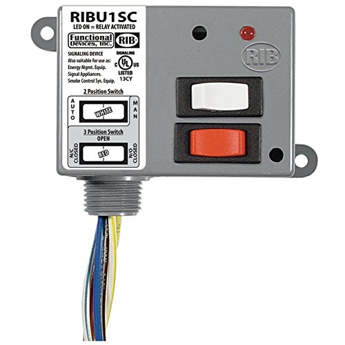 Functional Devices (RIB) RIBU1SC Enclosed Relay 10Amp SPDT + Override 10-30Vac/dc/1