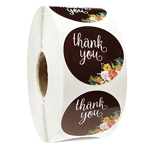 Thank You Stickers Roll for Wedding Kids Birthday Party Baby Shower Business Boutiques Chalkboard Envelopes Friends and Family Celebrations - 1000 Count 1.5 Round Labels - by BACOHO (Black)