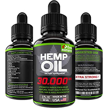 Hemp Oil 30000MG - Extra Strength for BIO-Efficacy - 100% Natural & Safe Hemp Extract - Pain, Stress & Anxiety Relief - Made in USA - Anti Inflammatory ...