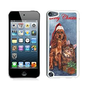 2015 Newest Christmas Dog and Cat White For Ipod Touch 5 Case Cover 3
