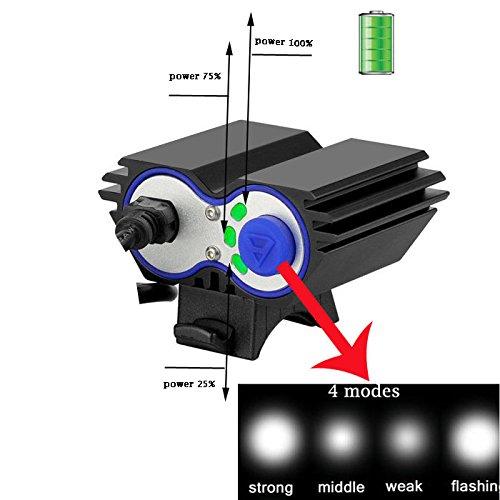 Arr 5000lm 2 x CREE XML U2 LED Faros para bicicleta frontal de batería faro, faro batería Ciclismo bicicleta luz faro con cargador + 4 piezas 18650 baterías ...