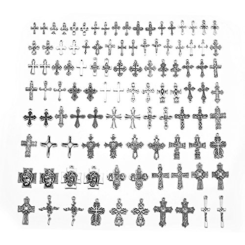 ZX Fashion Mixed Antique Silver Crosses Charms and Pendants 100 pcs