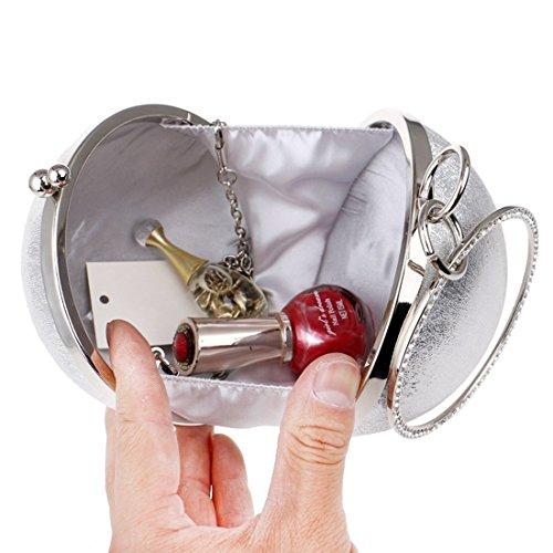 Bag Round Clutch Purse Cute Ball Women's KERVINFENDRIYUN Crossbody Color Black Handbag Evening Small Mini Dress Party Silver Tote YEw0v1q