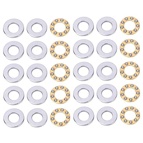 10pcs Miniature Thrust Ball Bearing Single Direction Flat Steel Bearings Set for Industrial Production (F6-14M)