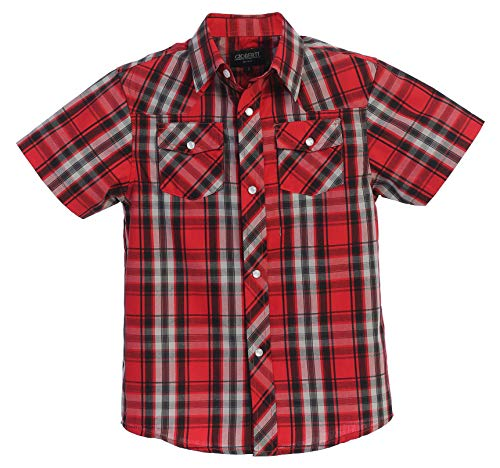 (Gioberti Boys Casual Western Plaid Pearl Snap-on Buttons Short Sleeve Shirt, Red/Black/Gray : Size 7 )