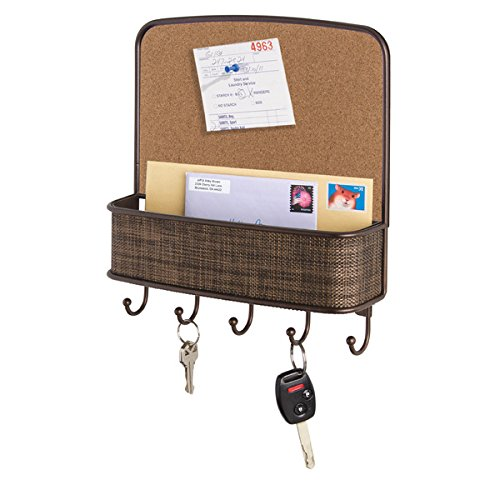 Newspaper Bulletin Boards (mDesign Cork Board with Mail & Key Organizer for Kitchen, Hallway, Entryway - Wall Mount, Bronze)