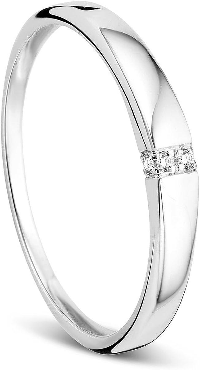Anillo de compromiso para mujer de Ovori, en oro blanco de 9 ct (375) y diamantes de 0,02 ct