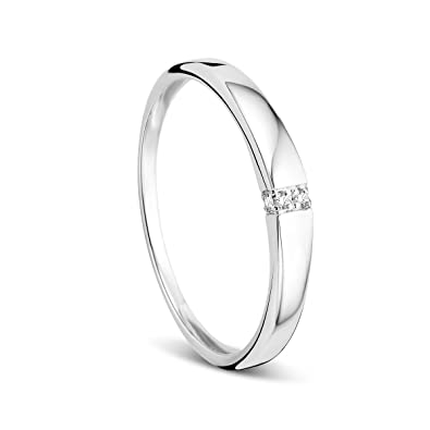 4cca7e0d6d Orovi Damen-Ring Memoire Hochzeitsring Weißgold 9 Karat (375) Diamant 0.02  carat Verlobungsring