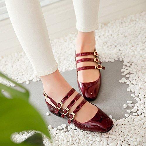 Mee Shoes Damen süß vierkant Slingback Mary Jane Halbschuhe Rot