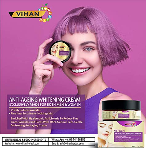 Vihan Anti Ageing, Skin Whiting Brightening Cream To Reduce Fine Lines, Wrinkles And Pores Advance Anti Aging Cream For… 2021 August Anti Ageing: Vihan anti aging skin whiting cream enriched with hyalouronic acid, stearic to reduce fine lines, wrinkles and pores with 100% natural, safe, gentle moisturing anti-ageing cream. Eliminates impurities in skin this anti aging cream for women & men works effectively to remove dirt from your face and body and peels off your dead skin so that your face will look clean and younger.; Instant fairness this anti ageing fairness cream provides intense nightlong hydration and nourishment. Helps skin regain its smooth, youthful, elastic texture and bright, clear complexion. Gentle & Effective: This formulation contains natural healing & hydrating ingredients, such as hyalouronic acid, stearic offers strong antioxidant properties to fight against the signs of aging, hydrates & nourishes skin cells to achieve radiant, soft, and refreshed skin. Vitamin b3, c & e brightens and evens skin tone.