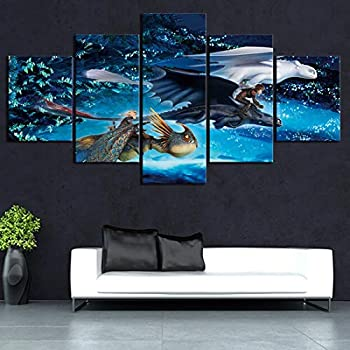 5 Pieces HD Cartoon Dragon Toothless Picture How to Train Your Dragon 3 Movie Poster Wall Sticker Canvas Paintings for Home Background Decor,A,40x60x2+40x100x1+40x80x2