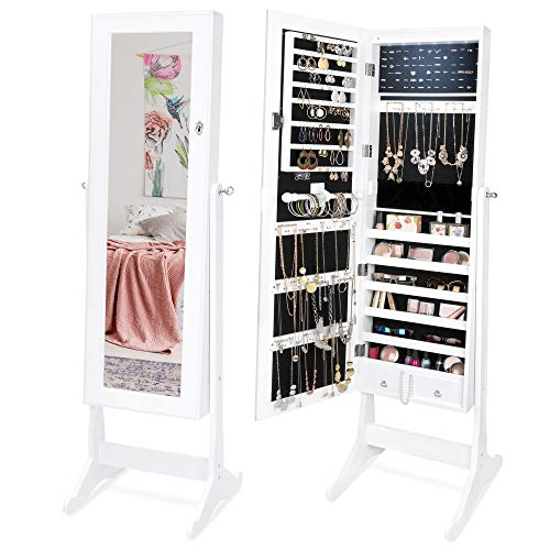 Best Choice Products 6-Tier Full Length Standing Mirrored Lockable Jewelry Storage Organizer -