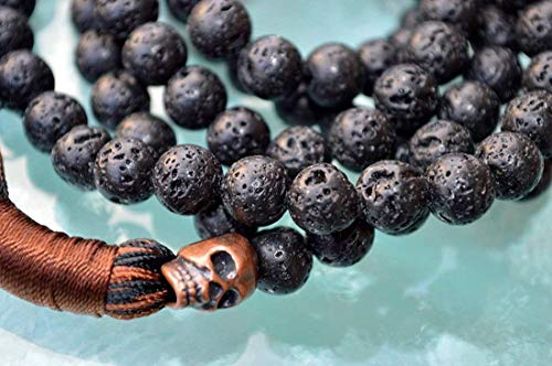 (Lava Mala beads necklace | Black volcano stone beads | red copper skull bead | 8mm 108+1 Basalt lava Beads | Third Chakra | Self Esteem Will power Vitality Desire | mens jewelry | US Seller)