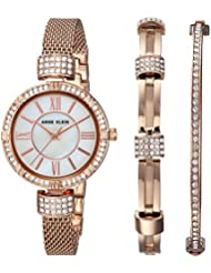 Anne Klein Women's Quartz Metal and Stainless Steel Dress Watch, Color:Rose Gold-Toned (Model: AK/2844RGST)