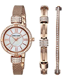 Women's Quartz Metal and Stainless Steel Dress Watch, Color:Rose Gold-Toned (Model: AK/2844RGST)