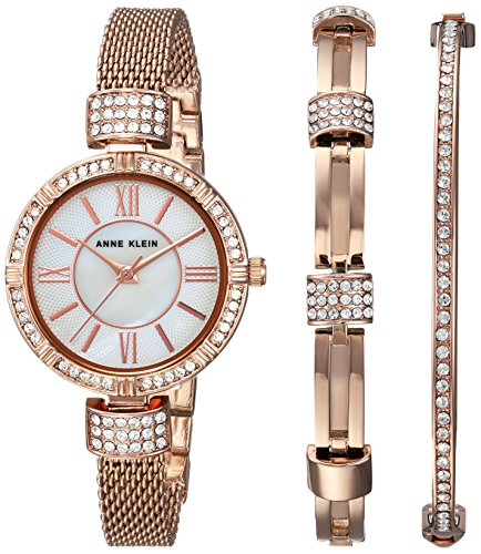 Anne Klein Women's AK/2844RGST Swarovski Crystal Accented Rose Gold-Tone Mesh Watch and Bracelet (Anne Klein Metal)
