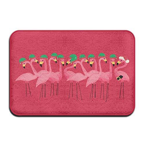 SPXUBZ Tropical Flamingo Green Christmas Hat Red Non Slip Entrance Rug Outdoor/Indoor Durable and Waterproof Machine Washable Door Mat Size:18x30 inch ()