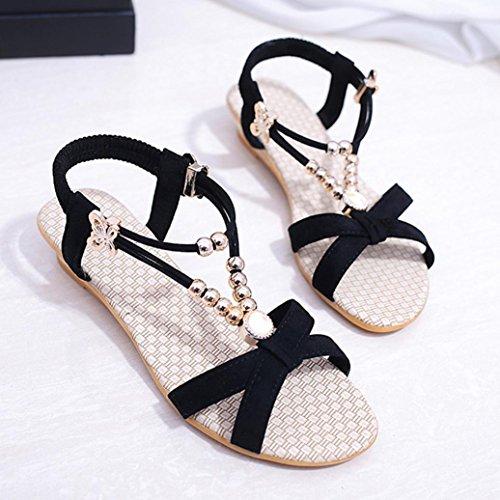 DEESEE(TM) Womens Summer Sandals Shoes Peep-toe Low Shoes Roman Sandals Ladies Flip Flops Black ZZj9vsKr